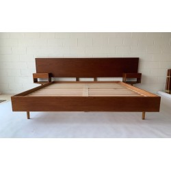 Founds' Custom Made Mid Century Styled Bed head with floating bedsides and base.