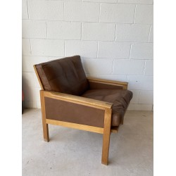 Illum Wikkelso Easy Chair in solid Oak with Danish Leather