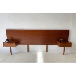 Queen Size Mid Century Styled Teak bed head with drawers